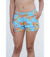 short playero azul flor naranja maui surf