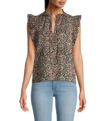 bb dakota women's floral-print cotton top - black - size xs