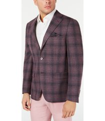 tallia men's slim-fit gray/pink plaid sport coat