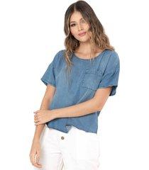 blusa tencel boyfriend azul ragged pf51110918
