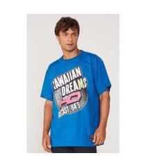 camiseta hd plus size estampada azul