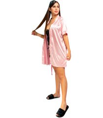 kimono dama color palo de rosa womanpotsherd ref: coat satin