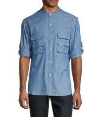 billy reid men's fisherman standard-fit utility shirt - blue chamb - size m
