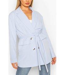 pocket double breasted blazer, light blue