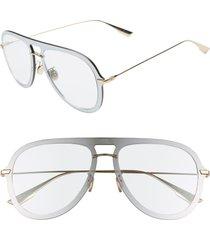 women's dior ultime1 57mm aviator sunglasses - silver/ green
