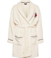 dkny signature robe short folded morgonrock vit dkny homewear