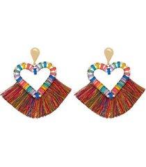 brinco piuka ava gota coração franjas colorida feminino - feminino