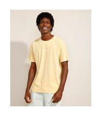 """camiseta de algodão california"""" manga curta decote redondo amarela"""""""