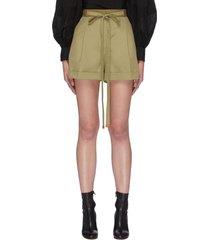 waist tie centre pleat cotton shorts