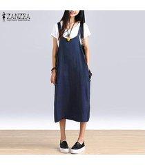 camiseta sin mangas de tiras zanzeas holgada de algodón-azul