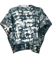 céline pre-owned abstract print cape-style top - blue