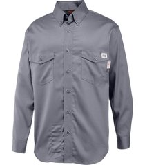 wolverine men's fr twill long sleeve shirt lead, size m