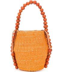 aranáz bead embellished tote bag - orange