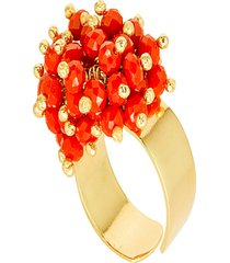 anel kumbayá microesferas móveis semijoia banho de ouro 18k pedra natural quartzo rubi