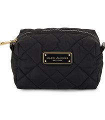 marc jacobs women's large quilted cosmetic pouch - black