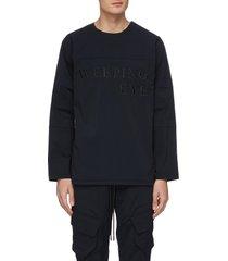'weeping eye' slogan embroidered panel sleeve sweatshirt