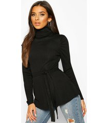 belted peplum long sleeve top, black