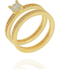 anel dona diva semi joias duplo dourado