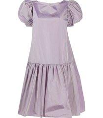 loulou flared shirt dress - purple
