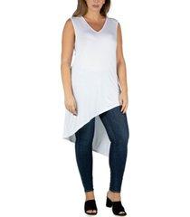 24seven comfort apparel women's plus size sleeveless asymmetric tunic top
