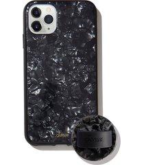 sonix black tort print iphone 11 pro max case & slide silicone phone ring - black