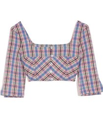 3/4 sleeve crop top in blue plaid