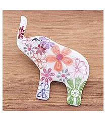 ceramic brooch pin, 'white floral elephant' (thailand)