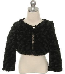 black cuddle fur bolero jacket with a pearl button winter party flower girl