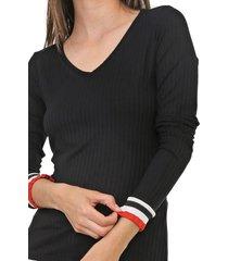 blusa lunender canelada preta - preto - feminino - viscose - dafiti