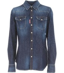 dsquared2 denim shirt with crystal