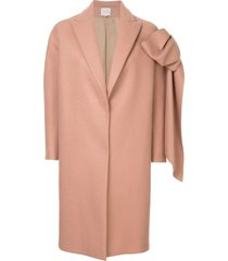 delpozo straight coat with bow - pink