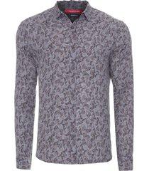 camisa masculina liberty folhas pinceladas - cinza