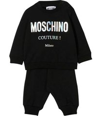 moschino black jumpsuit with frontal white logo