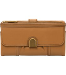 fossil cora leather clutch wallet