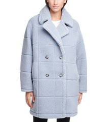 calvin klein double-breasted faux-fur teddy coat