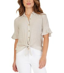 bcx juniors' crochet-trimmed tie-hem blouse