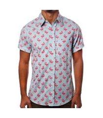 camisa camaleão urbano flamingos havaiana masculina