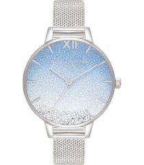 olivia burton under the sea stainless steel mesh bracelet watch 34mm