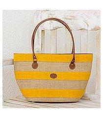 leather accent jute shoulder bag, 'marigold stripes' (guatemala)