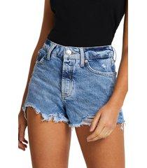 women's river island cutoff denim shorts, size 14 us - blue