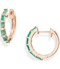 women's shay emerald baguette hoop earrings