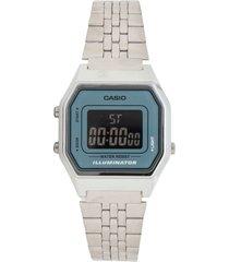 reloj casio la-680wa-2b para dama lujoso plateado/ azul