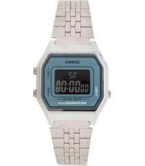 reloj casio la-680wa-2b retro para dama lujoso plateado/ azul