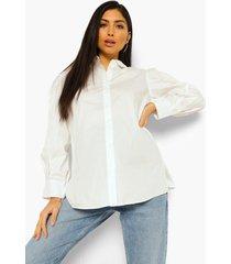 zwangerschap katoenen blouse met pofmouwen, white