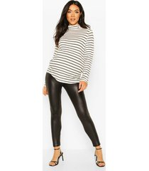 maternity leather look legging, black