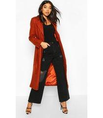 tall wool belted longline coat, rust