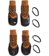 lovethybeast rubber dipped dog socks, size 6 - brown