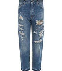 fabric-trimmed jeans