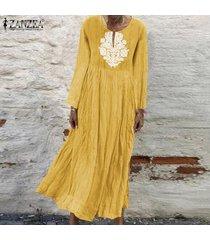 zanzea de mujeres con cuello en v casual impresión floral larga camisa de vestir de gran tamaño kaftan vestido a media pierna -amarillo
