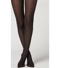calzedonia diamond pattern 100 denier opaque tights woman black size xl